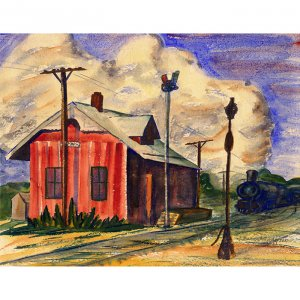 "Depot (10"" H x 12.7"" W, Medium; Giclee Print of Watercolor Painting)"