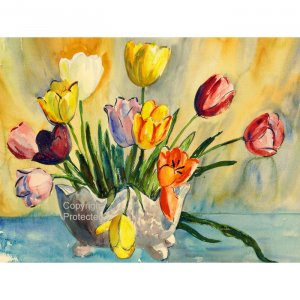 "Bright Tulips (10"" H x 13.3"" W, Medium; Giclee Print of Watercolor Painting) (Floral)"