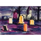 "Churchyard (Cemetery) (14.25"" H x 20.35"" W, Large; Giclee Print of Watercolor Painting)"