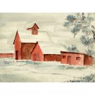 "The Farm (10"" H x ~13.5"" W, Medium; Giclee Print of Watercolor Painting)"