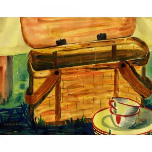 "Picnic Basket (13.25"" H x 17"" W, Standard; Giclee Print of Watercolor Painting)"