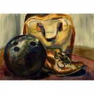 """Bowling (~7"""" H x 10"""" W, Small; Giclee Print of Watercolor Painting) (Ball, Shoe, Bag)"""