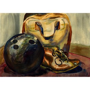 "Bowling (~7"" H x 10"" W, Small; Giclee Print of Watercolor Painting) (Ball, Shoe, Bag)"