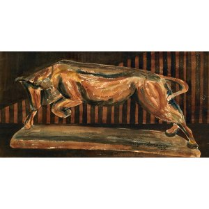 "El Toro (The Bull) (~9.9"" H x ~19.4"" W, Medium; Giclee Print of Watercolor Painting)"