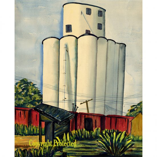 """Grain Elevator II (20"""" W x ~24"""" H, Largest; Giclee Print of Watercolor Painting)"""