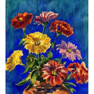 "Zinnias (~11.25"" H x 10"" W, Medium; Giclee Print of Watercolor Painting)"