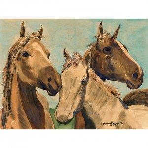 "Three Horses (10"" H x ~13.25"" W, Medium; Giclee Print of Watercolor Painting)"