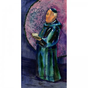 "The Monk (22""H x ~11.25""W, Large; Giclee Print of Watercolor Painting)"