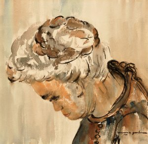 "Lena (10"" H x 10"" W, Medium; Giclee Print of Watercolor Painting)"