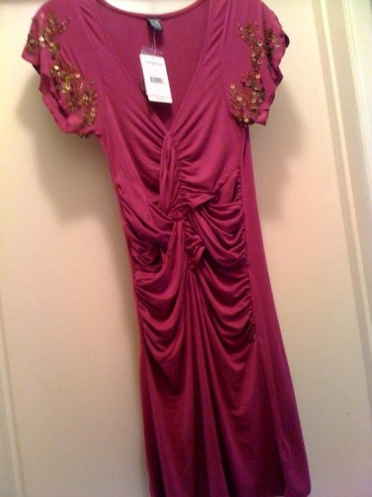 Free Poeple purple/berry Beaded Dress Sz Xsmall New With Tag