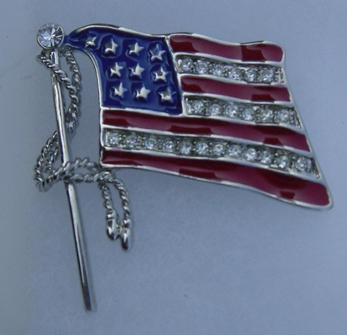 New Silver Flag Brooches