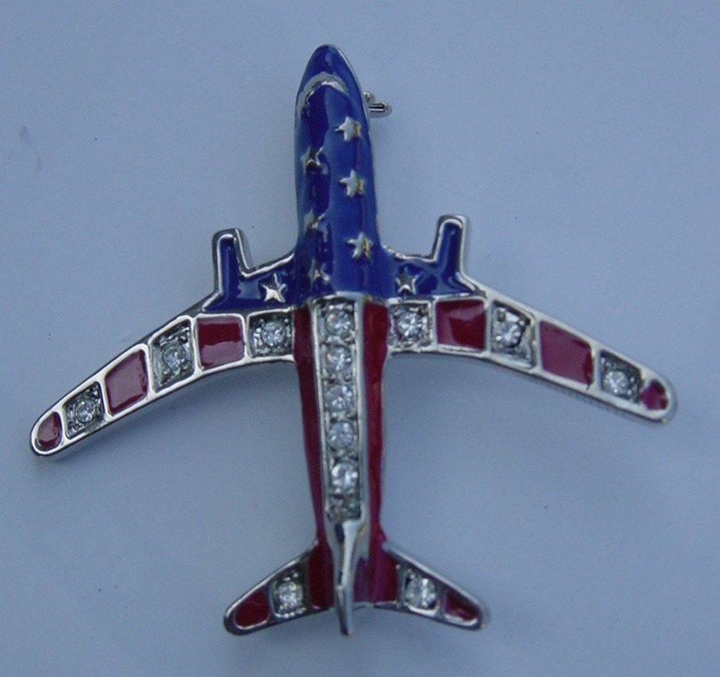 New Airplan Flag Brooche