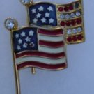 Double America Flags Brooche