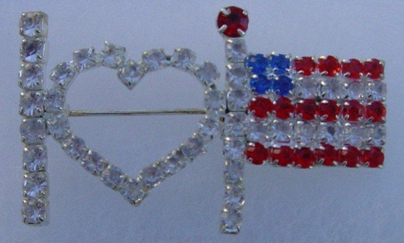 I Love America Flag Brooche