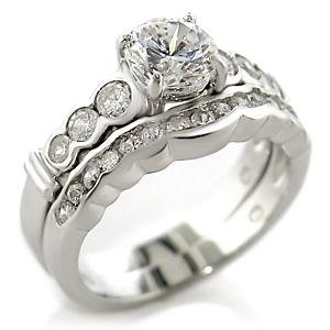 Brass, Rhodium, AAA Grade CZ Ring Size 5