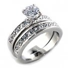 Brass, Rhodium, AAA Grade CZ, Clear Ring Size 7  (229)