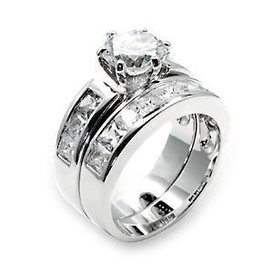 Brass, Rhodium, AAA Grade CZ, Clear Ring Size 8 (236)