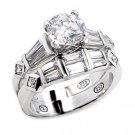 Brass, Rhodium, AAA Grade CZ, Clear Ring Size 6 (241)