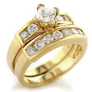 Gold Plated AAA Grade CZ Clear Ring Size 6 (245)