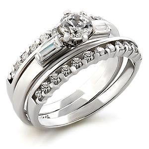 Brass, Rhodium, AAA Grade CZ, Clear Ring Size 8 (256)