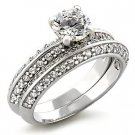 Brass, Rhodium, AAA Grade CZ, Clear Ring Size 8 (257)