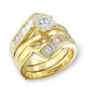 Brass, Gold, AAA Grade CZ, Round, Clear Ring Size 8 (260)