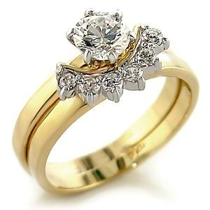 Brass, Two-Tone, AAA Grade CZ, Round, Clear Ring Size 8 (264)