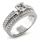 Brass, Rhodium, AAA Grade CZ, Clear Ring Size 7 (255)