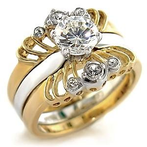 Brass, Two-Tone, AAA Grade CZ, Clear Ring Size 7 (258)