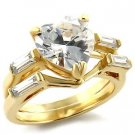 Brass, Gold, AAA Grade CZ, Clear Ring Size 6 (266)