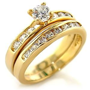 Brass, Gold, AAA Grade CZ, Clear Ring Size 9 (268)