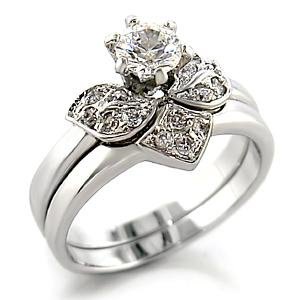 Brass, Rhodium, AAA Grade CZ, Round, Clear Ring  Size 7 (269)