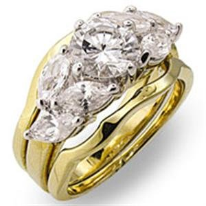 Brass, Two-Tone, AAA Grade CZ, Round, Clear Ring Size 8 (272)