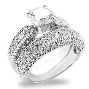 Brass, Rhodium, AAA Grade CZ, Clear Ring Size 10