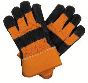 10 Pairs Split Leather Orange Safety Work Gloves