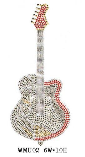 Guitar design rhinestone transfers