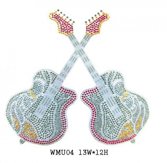 Guitar design rhinestone motif