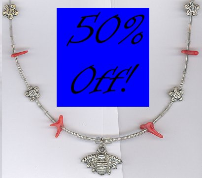 Bee Pendant Necklace w/ Coral-50% OFF!!