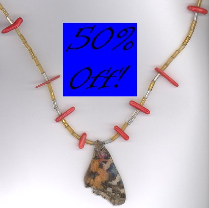 Painted Lady Butterfly Wing Necklace w/ Coral-50% OFF!!