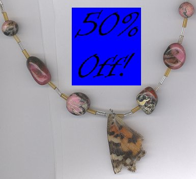 Painted Lady Butterfly Wing Necklace w/ Semi-Precious Stones-50% OFF!!