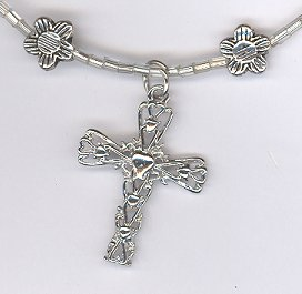 Cross Necklace w/ Flowers
