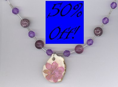 7 Petal Lilac Flower Necklace w/ Amethyst-50% OFF!!