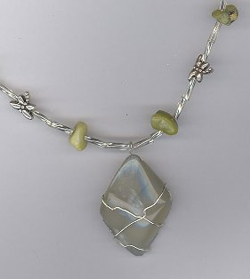 Glow in the Dark Moonstone Necklace w/ Yellow Turquoise