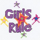 Bucilla Mini Counted Cross Stitch Kit, 3 by 3-Inch, 45445 Girls Rule