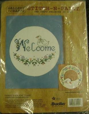 Bucilla Counted Cross Stitch N Paint kit Goose Welcome Wreath