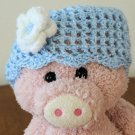 Infant's Beanie hat - Blue with white/blue flower