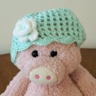 Infant girl's Beanie hat - Green with white/green flower