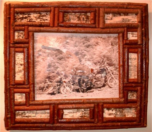 "Handmade Frame with Bark-14""X17"""