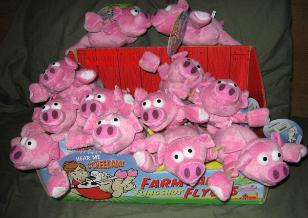 New Screaming Slingshot Flying Pig Toy WOW $2.99 ea!