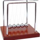 "Newtons Cradle Balance Balls Wood Base law NEW 5 1/2"""